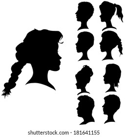 Vector silhouettes of different faces in profile.