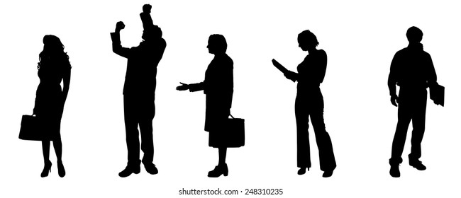 Vector silhouettes of different people on a gray background.