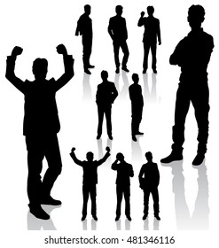 Vector silhouettes. Different poses silhouettes of business people