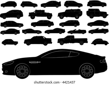 Vector silhouettes of different types of cars