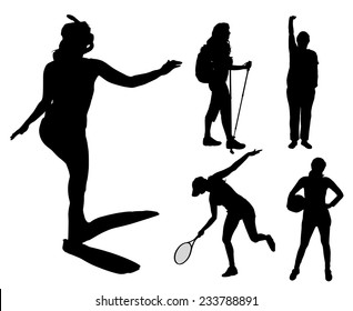 Vector silhouettes of different women in different sports.