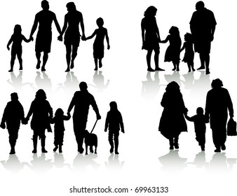 vector of silhouettes of families in different situations