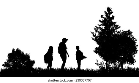 Vector silhouettes of family with a backpack in nature.