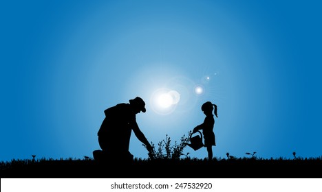 Vector silhouettes of family working in the garden.