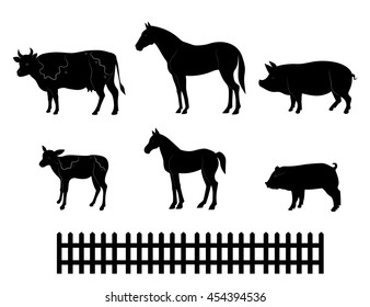 Vector silhouettes of farm animals isolated on white background.