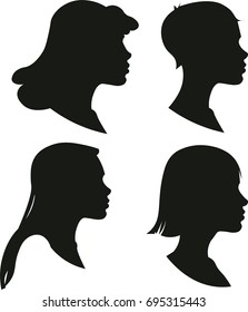 Vector silhouettes of female heads