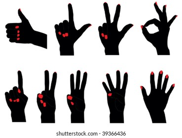 Vector silhouettes of fingers counting from 0 to 5