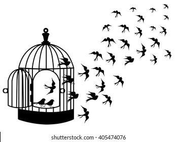 Vector silhouettes : a flock of birds flying, crows, swans.vector bird cages illustrator