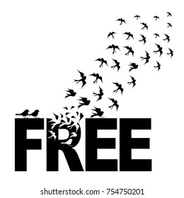 Vector silhouettes : a flock of birds flying from free text, crows, swans.vector bird cages illustrator