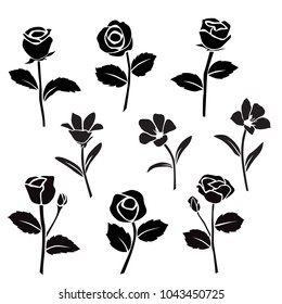 Vector silhouettes of flowers, rose, lily, bell, blossom,  black color, isolated on white background