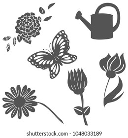 Vector silhouettes of garden spring set with flowers, water can and butterfly. Laser die cut out isolated on white