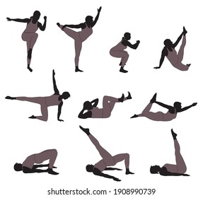 Vector silhouettes of girl in costume doing fitness and yoga exercises.  Icons of flexible woman stretching her body in different yoga poses. Set of black shapes of woman isolated on white background.