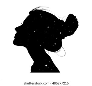 Vector silhouettes of girl hairstyles. profile. Girls Silhouette .
