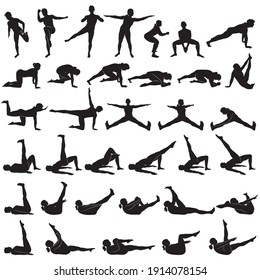 Vector silhouettes of girl practicing yoga and fitness. Shapes of slim woman doing exercises and stretching in different poses isolated on white background. Healthy lifestyle consept.
