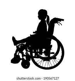 Vector silhouettes of girl in a wheelchair on a white background.