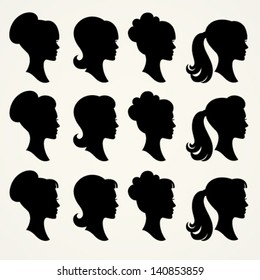 Vector silhouettes of girls