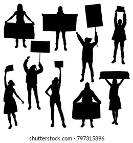 Vector silhouettes of girls  marching In protest with banners, protesting and being in demand For political freedom.