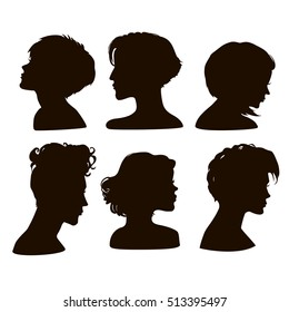 Vector silhouettes of girls short hairstyles. EPS10