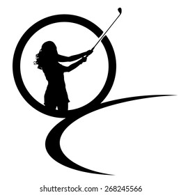 Vector silhouettes of golf on a white background.