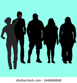 Vector silhouettes of a group of people of different proportions, thin and full in sportswear on vacation. Slim girl interviews a tall man. Fat woman in sunglasses.