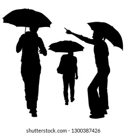 Vector silhouettes of a group of three people with umbrellas. The man leaves, the girl stands sideways and shows a finger, the man goes to meet. Tall people to their full height