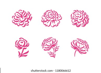 Vector silhouettes of hand drawn peony flowers isolated on white background