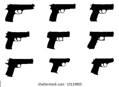 Vector silhouettes of handguns.