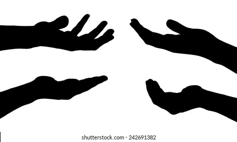 Vector silhouettes of hands on a white background.