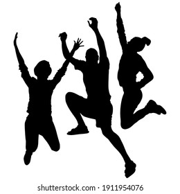 Vector silhouettes of happy, cheering, jumping up people. A man and 2 women with joyful emotions, fun skyout, happiness, energetic, delight.
