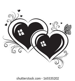 Vector silhouettes of hearts
