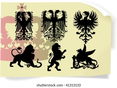 Vector silhouettes, heraldic 1, vector illustration
