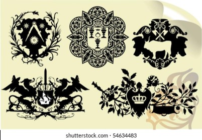 Vector silhouettes, heraldic 33, vector illustration