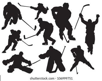 vector silhouettes hockey players