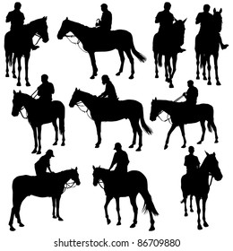 Vector silhouettes of horse racing.