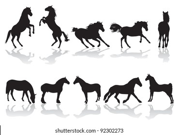 Vector silhouettes of horses at the time of movement