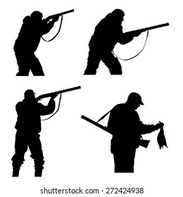 vector silhouettes of hunters on white  background