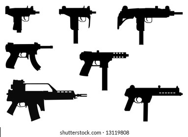 Vector silhouettes of machine guns.