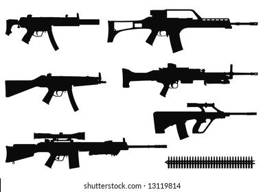 Vector silhouettes of machine guns.