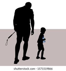 Vector silhouettes of a man and a little boy. Tired father and son go into the distance. A man carries a selfie stick, the child comes with a bottle of water. The boy looked back. Father is head down.