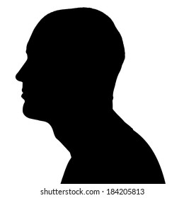 Vector silhouettes man in profile on white background.