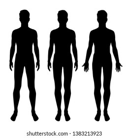 Vector silhouettes of man standing,three shapes, black color, isolated on white background