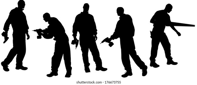 Vector silhouettes man with tools on a white background.