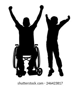 Vector silhouettes man who is in a wheelchair with a son.