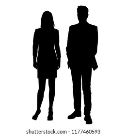 Vector silhouettes man and woman, couple,  business people, group people , standing,  black color, isolated on white background