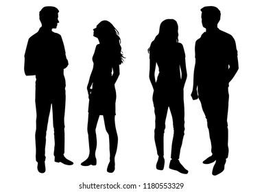 Vector silhouettes man and woman, couple,  business people, group , standing,  black color, isolated on white background