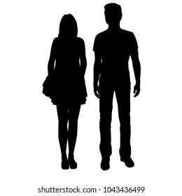 Vector silhouettes man and woman standing, business,  people, couple, black color, isolated on white background