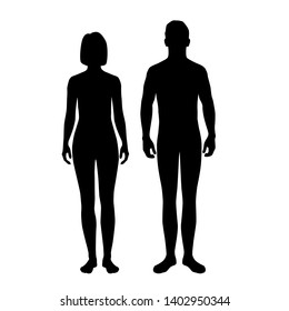 Vector silhouettes of man and woman standing, couple,  black color, isolated on white background
