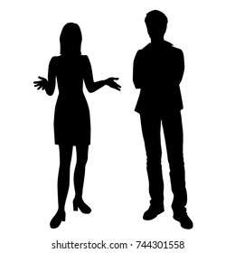 Vector silhouettes of man and woman standing, different poses,  couple, black color, isolated on white background