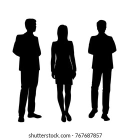 Vector silhouettes of man and women standing, business people group,  black color, isolated on white background