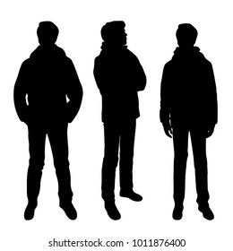 Vector silhouettes of men  standing, business people, three, black color, isolated on white background